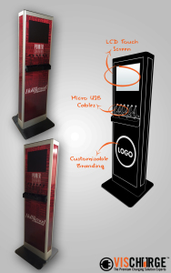 Mobile phone charging kiosk